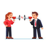 Business man and woman shouting at each other Stock Image