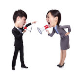 Business Man and woman shouting to each other stock photos