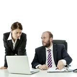 Business man and woman show document Royalty Free Stock Photography