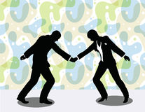 business man and woman silhouette in handshake pose Royalty Free Stock Photo