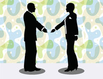 business man and woman silhouette in handshake pose Royalty Free Stock Photography