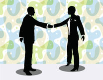 business man and woman silhouette in handshake pose Stock Images