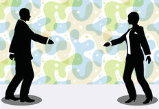 business man and woman silhouette in handshake pose Royalty Free Stock Photos