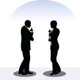 Business man and woman silhouette in standing pose Royalty Free Stock Photo