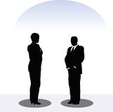 Business man and woman silhouette in standing pose Royalty Free Stock Photography