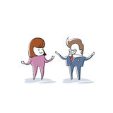 Business Man And Woman Speaking, Businesspeople Meeting Discussion Cartoon Character Full Length Royalty Free Stock Photo
