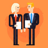 Business man and woman speaking. Two business people speaking and discussing flat illustration, Fully editable vector illustration placed on a painted background Stock Photo