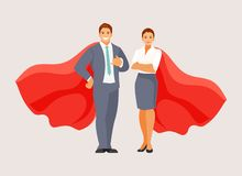 Business people superheroes. Business man and woman standing in superhero cloaks. Vector illustration vector illustration