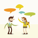 Business man and woman talking converstion. Royalty Free Stock Image