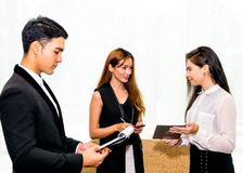 Business man and Business Woman. Business Man talking dealing with Woman to Signing Contract Stock Photos