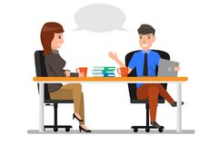 Business Man And Woman Talking Discussing, Businesspeople Chat S. Itting in office Communication. business cartoon character concept Vector Illustration stock illustration
