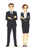 Business man and woman. Business team. Cheerfull business man and woman with arms crossed isolated Royalty Free Stock Image