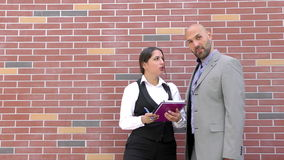 Business Man and Woman Teamwork Talking Concept. Video stock video