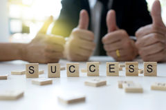 Business man woman thumb up  success Royalty Free Stock Photography