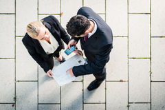 Business man and woman in top view Stock Photo