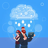 Business Man And Woman Wear Digital Glasses Use Laptop Computer Cloud Database Concept. Flat Vector Illustration stock illustration