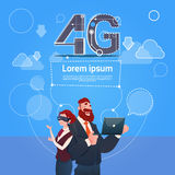 Business Man Woman Wear Digital Glasses Use Laptop Computer 4g Internet Speed. Flat Vector Illustration Royalty Free Stock Photography