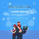 Business Man And Woman Wear Digital Glasses Use Laptop Computer Registration Concept. Flat Vector Illustration stock illustration