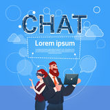 Business Man And Woman Wear Digital Glasses Use Laptop Computer Social Network Communication. Flat Vector Illustration royalty free illustration