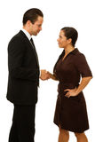 Business man and women shaking hands. Stock Photos