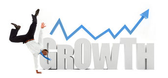Business man with the word growth Stock Images