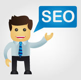 Business man with a word SEO Stock Image