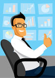 Business man at work. Successful businessman sitting in chair at work Royalty Free Stock Photo