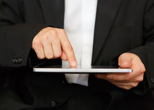Business man at work. Business man with digital tablet Stock Photo