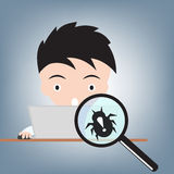 Business man work with computer and magnifying glass with bug, internet virus crime concept, illustration vector in flat design Royalty Free Stock Images