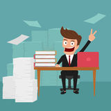 Business man work hard and love his job. Royalty Free Stock Photography