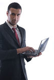 Business man work on mini laptop Stock Image
