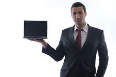 Business man work on mini laptop Royalty Free Stock Images