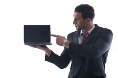 Business man work on mini laptop Stock Images