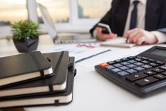Business man work process. Marketing strategy brainstorming. Paperwork and digital in office Stock Image