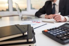 Business man work process. Marketing strategy brainstorming. Paperwork and digital in office Royalty Free Stock Photos