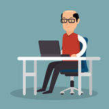 Business man work used laptop office. Vector illustration eps 10 Stock Images