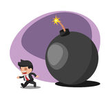 Business Man Worker  Run away  Bomb Vector Royalty Free Stock Photography