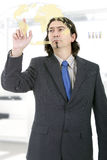 Business man working. With virtual digital interface or environment Stock Photos