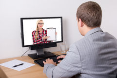Business man working with computer in office Royalty Free Stock Images