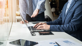 Business man working with computer in team Meeting Talking Discu stock images
