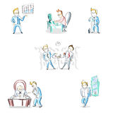 Business Man Working Day Cartoon Hand Draw Sketch Stock Images