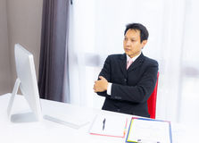 Business man working with desktop computer Royalty Free Stock Image
