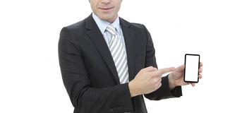 Business man working with a digital phone Stock Images
