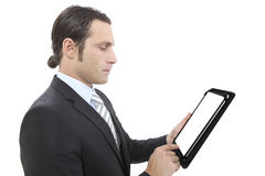 Business man working with a digital tablet Stock Photo