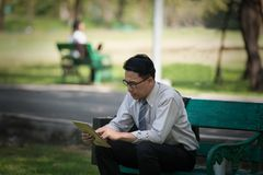 Business man working on digital tablet feel stressed/worry/heada. Che/disappoint during working Stock Photo