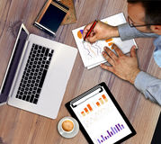 Business man working, discussing business charts, strategy Stock Images