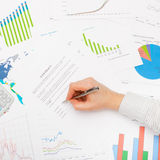 Business man working with financial data - signing contract - studio shot Stock Photos