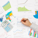 Business man working with financial data Stock Photography