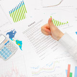Business man working with financial data - thumb up Royalty Free Stock Photography