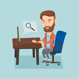 Business man working on his laptop. Young caucasian hipster business man working on his laptop in office and searching information on internet. Internet search Royalty Free Stock Photography